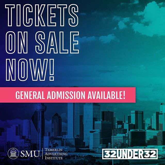 Tables to the #32Under32 ceremony have sold out but a limited amount of General Admission tickets are on sale. Purchase your GA ticket and celebrate the new class of 32 Under 32 awardees with us at @hobdallas 10/23. With the purchase of a general admission ticket, you will receive dinner, a drink and general admission seating. Tickets are $75 for members and $100 for non-members.  Historically, general admission tickets sell out quickly. So if you want to celebrate the new class of 32 Under 32 awardees grab them now! Click the link in our bio!
