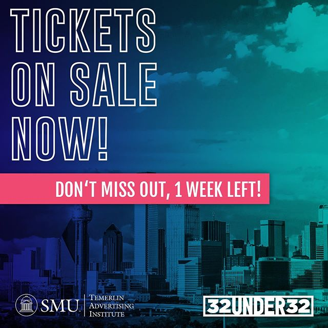Can you believe we are one week away from #32Under32?! We are beyond excited to celebrate this year's honorees. The event will be at the @HOBDallas on 10/23 from 6:30-10PM. Dress code is semi-formal. Buy your tickets now with the link in our bio! Tickets are $75 for members and $85 for non-members. We can't wait! #32Under32 #whyad2dal #Dallas