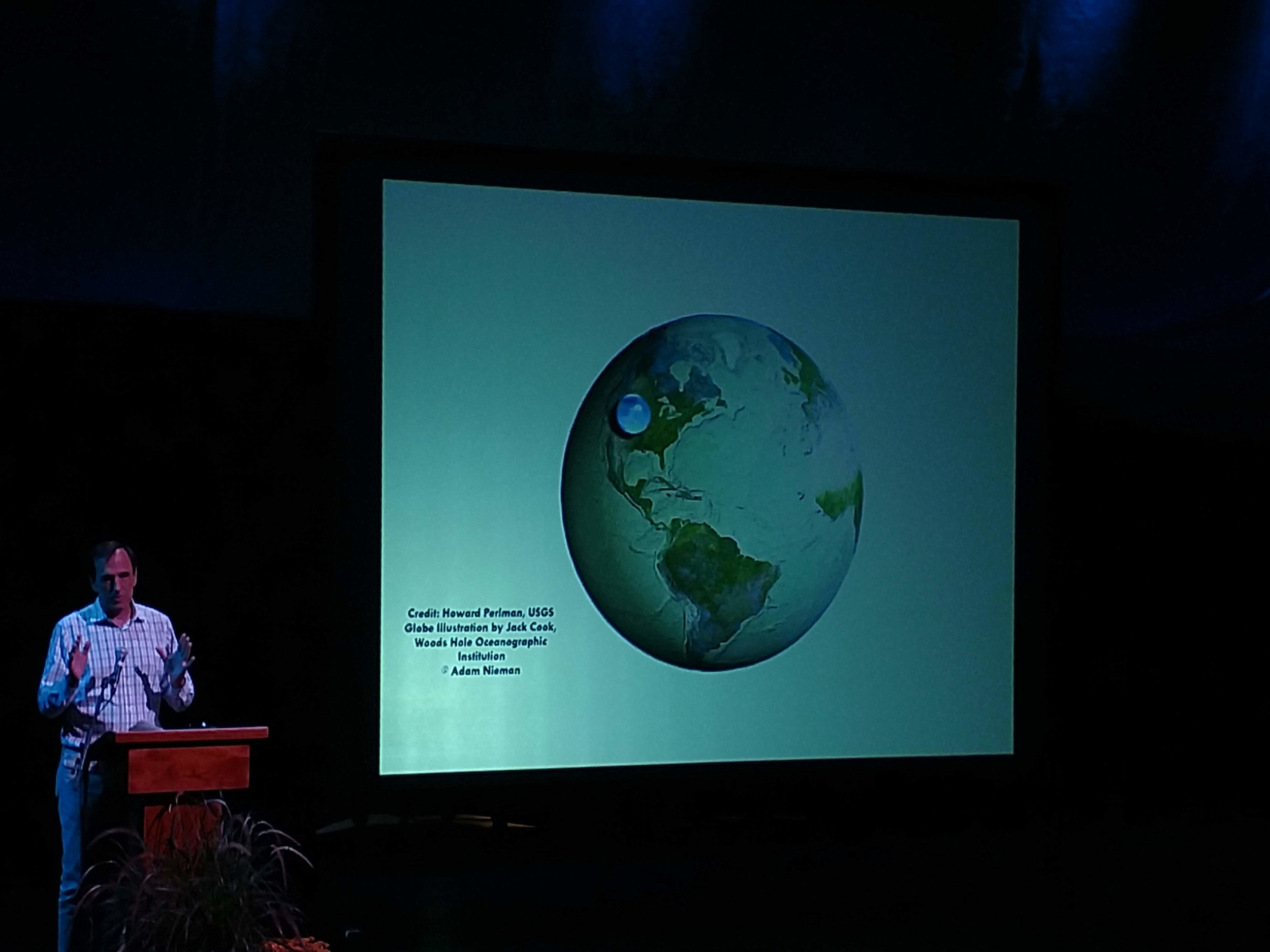 Jeff Goodell presents an image revealing how the volume of all water on Earth compares to the size of the planet itself
