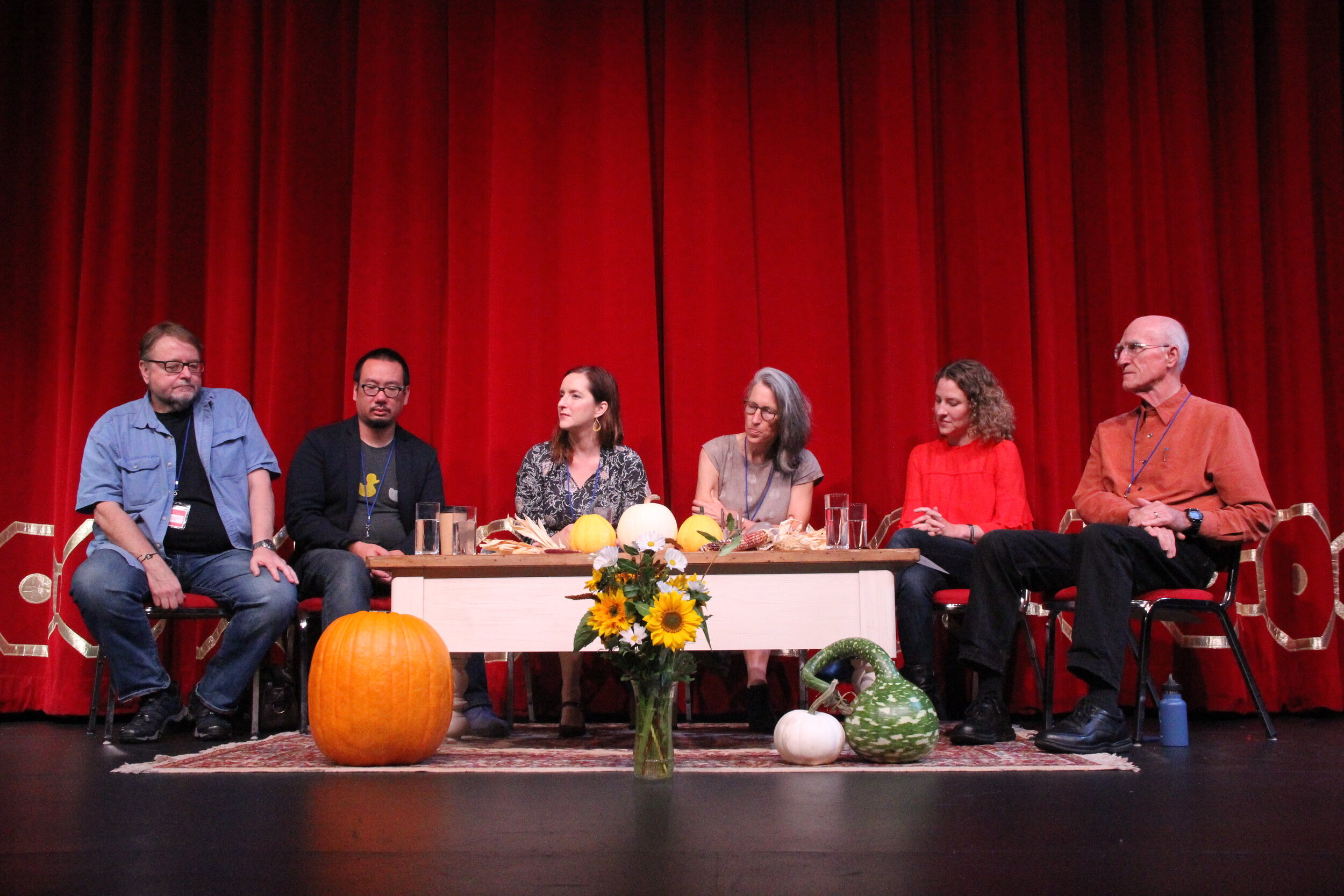 Author Panel, deep in thought. From left to right: Luis Alberto Urrea, Bao Phi, Rebecca Makkai, Jane Hamilton, Paula Carter, Scott Russell Sanders