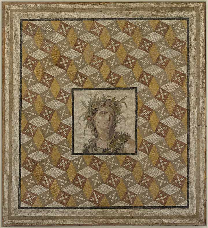 Mosaic floor panel , 2nd century A.D. Roman. Stone, tile, and glass, 89 x 99 in. (226.1 x 251.5 cm). The Metropolitan Museum of Art, New York, Purchase, Joseph Pulitzer Bequest 1938 (38.11.12)