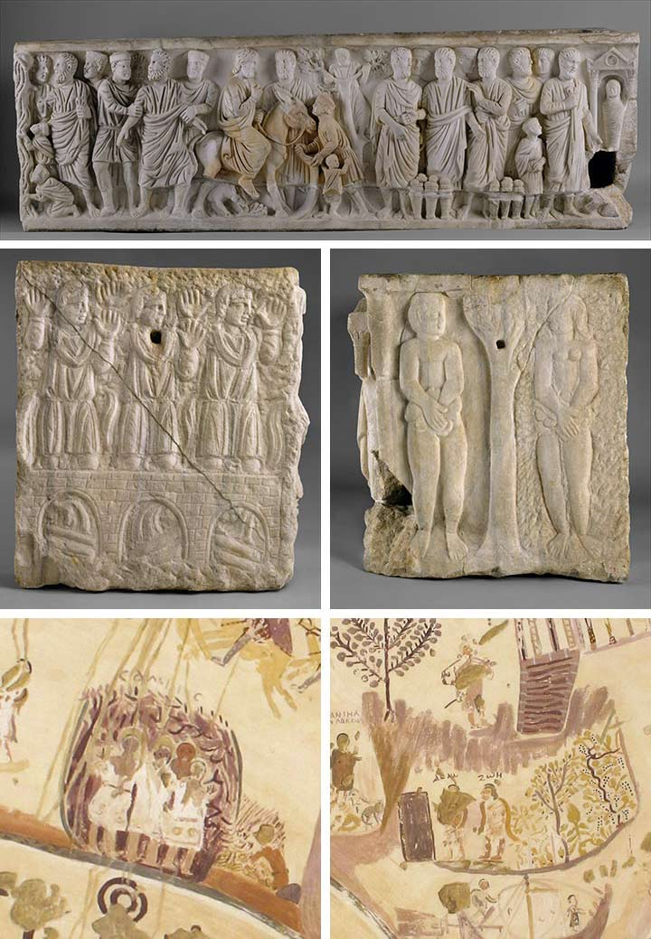 First and second rows:  Sarcophagus with scenes from the lives of Saint Peter and Christ , early 300s, with modern restoration. Rome, Villa Felice (formerly Carpegna). Marble, 26 1/2 x 83 1/2 x 24 3/8 in. (67.3 x 212.1 x 61.9 cm). The Metropolitan Museum of Art, New York, Gift of Josef and Marsy Mittlemann, 1991 (1991.366). Third row: Charles Wilkinson.  Facsimile of the dome painting of the Chapel of Exodus  (two details) (30.4.141). Left: Three Hebrews in the Fiery Furnace; right: Adam and Eve after the Fall by the Tree of Knowledge
