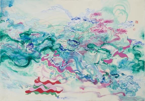 Jiha Moon,  Cascade Crinoline , 2008; Ink and acrylic on hanji paper, 41 x 59 in.; National Museum of Women in the Arts, Gift of the Georgia State Committee of NMWA; © Jiha Moon.