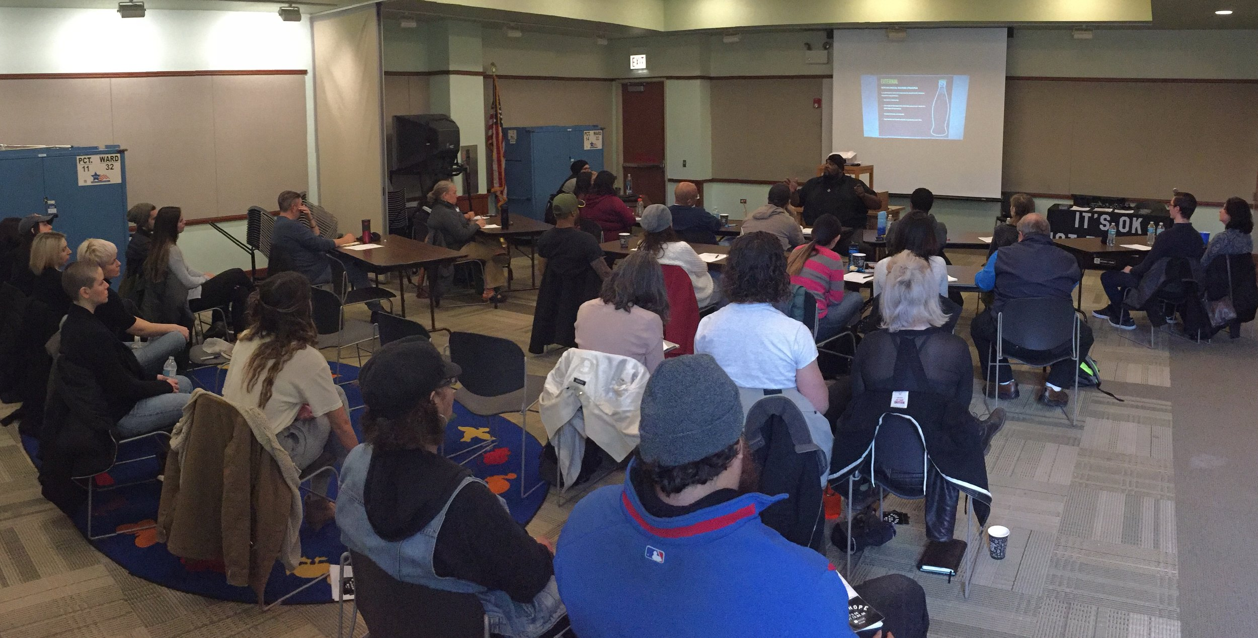 "HFTD Educator and Director of Programs, Carl Evans teaching our November ""PEERVENTION"" Workshop at Chicago Public Library, Logan Square."