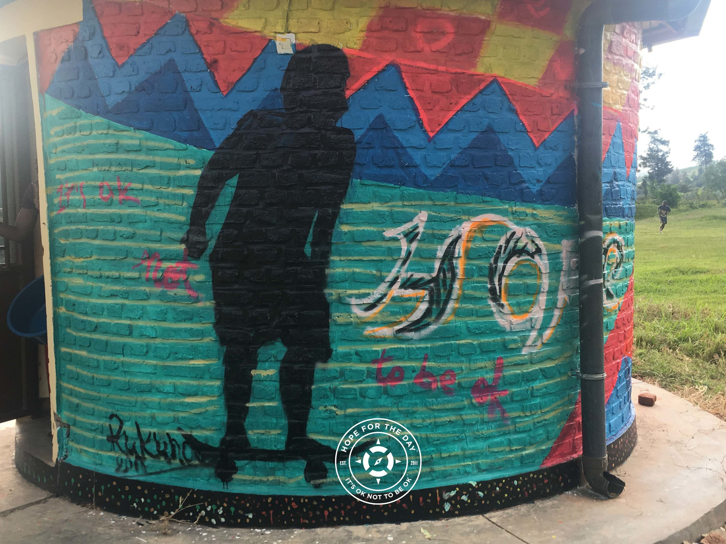 A mural painted during the SkateAid event in Kigali. Photo: Nancy Bartosz