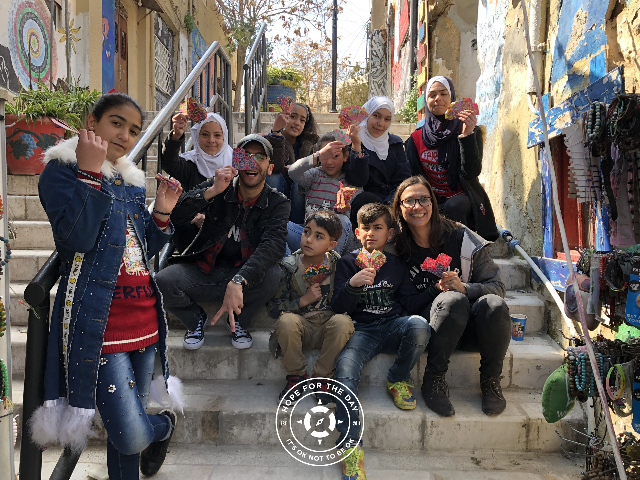 Creating hearts in the community art corridor in Amman, Jordan Photo: Nancy Bartosz