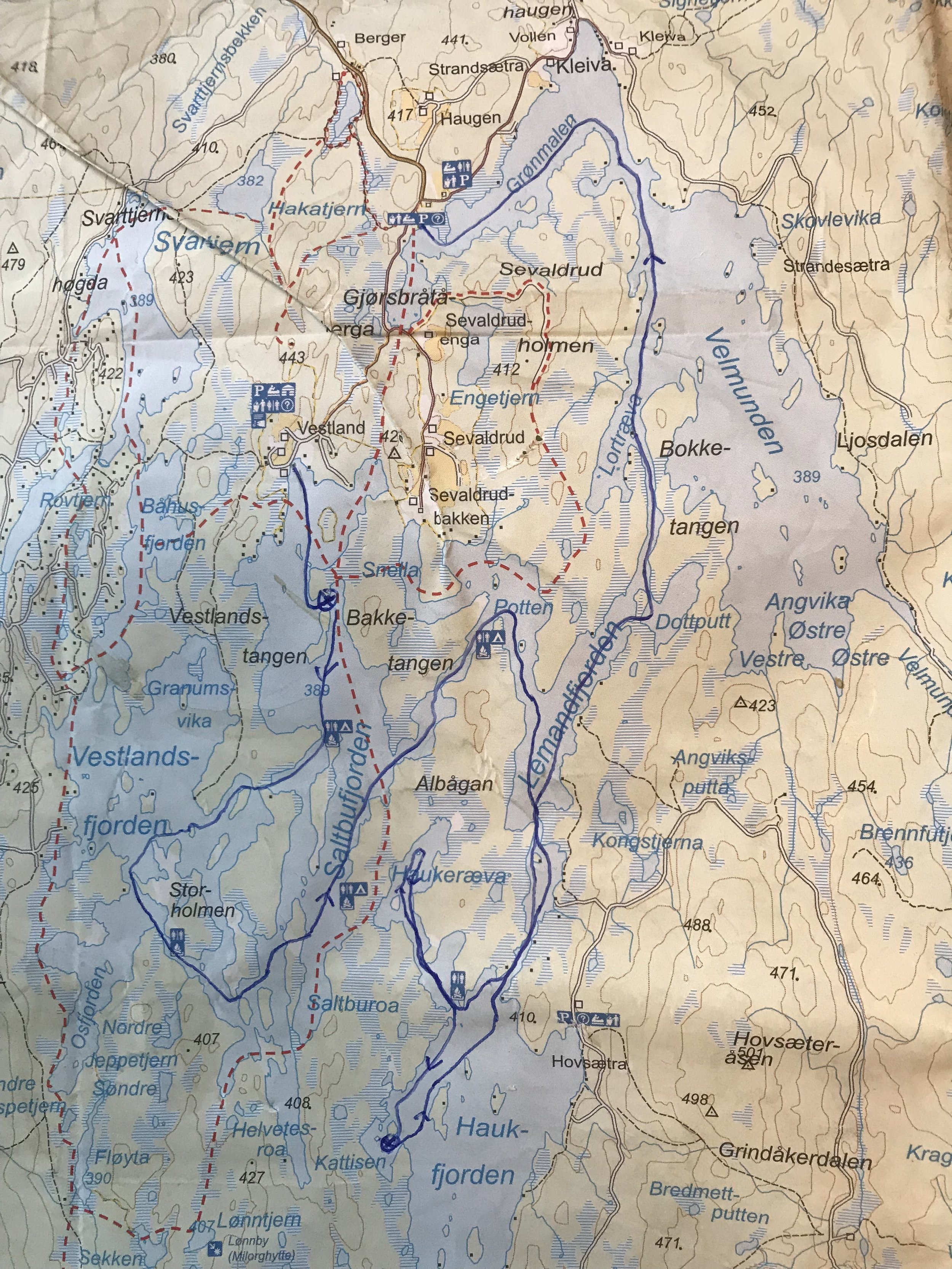 My route in Fjorda. The stars mark where I tented. The area is sometimes named Velmunden, after the largest lake in the lake-system.