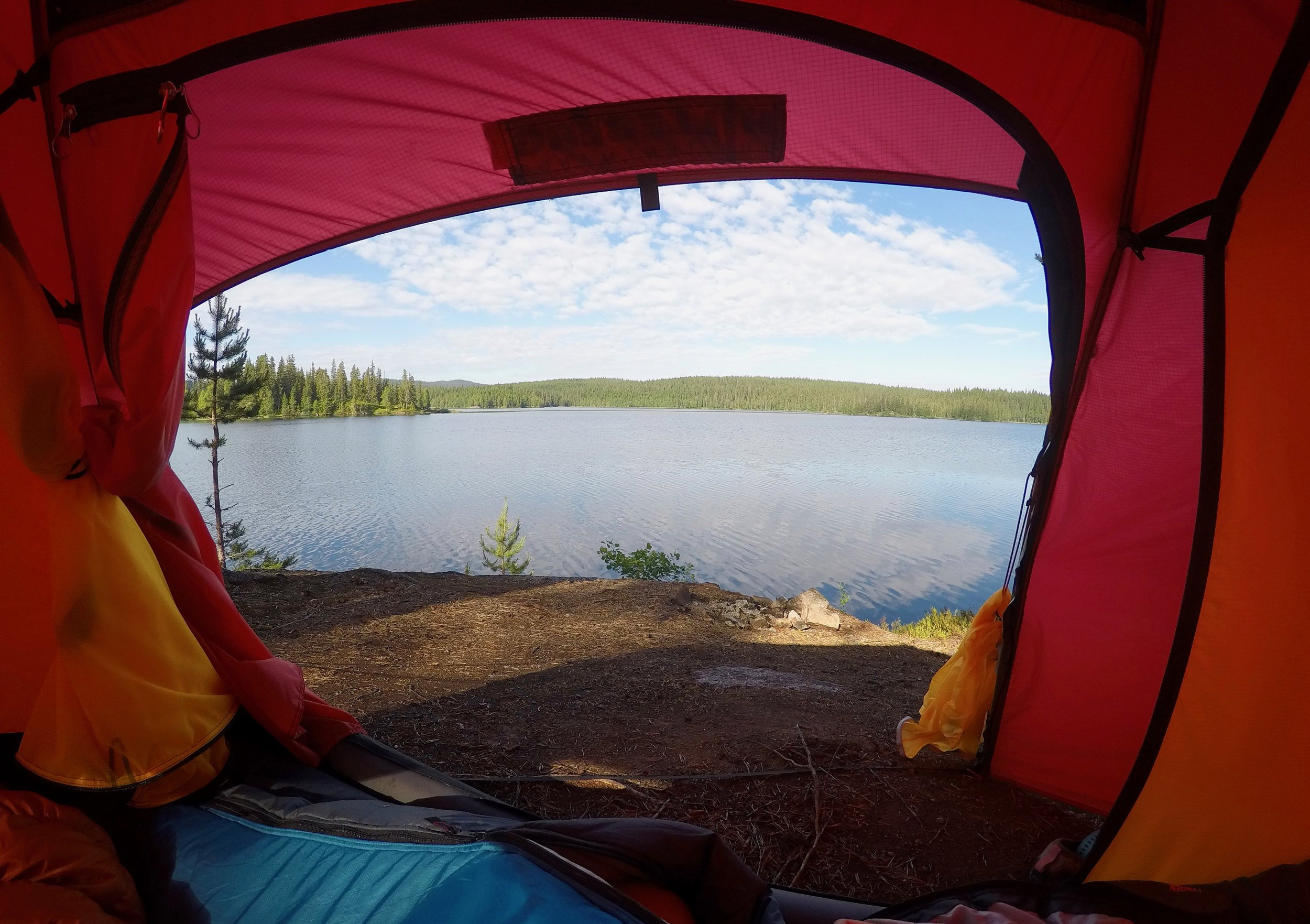 Morning view from your tent in Nordmarka. (Photo: Oslo Outdoor)