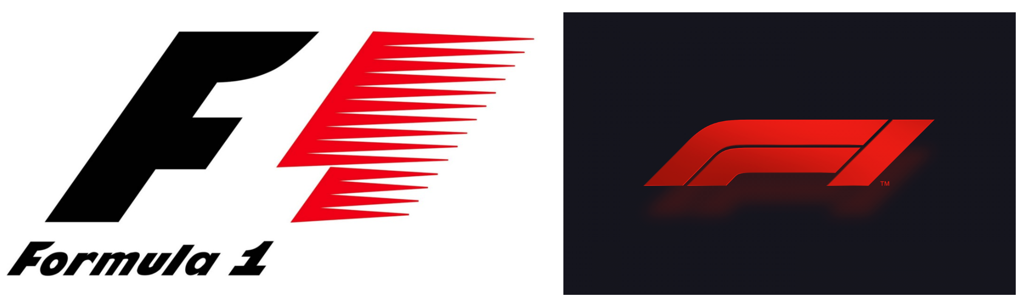 The new and old F1 logo