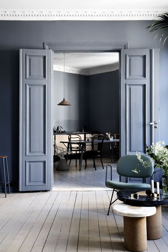 Via  Line Klein   Because   the  carrying the blue-grey on the walls onto the trim and doors gives an understated look  that makes you look twice and puts attention on the architectural details in a casual-cool kinda way. The tone pairs beautifully with the light, worn wood in the floor and echoed with the side table and buffet ☝🏼