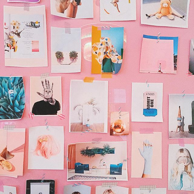 Via  @designlovefest   I love when pink is balanced out with obscure art and less frilly accents. This gallery acts as an inspiration board against a colourful background, perfect in an office setting ☝🏼