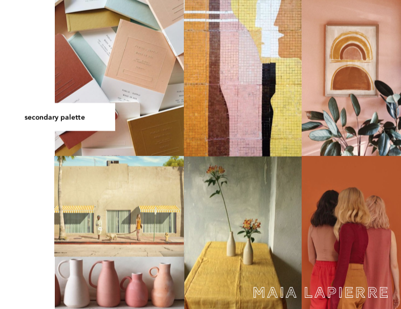 Inspiration for the brand's secondary colour palette