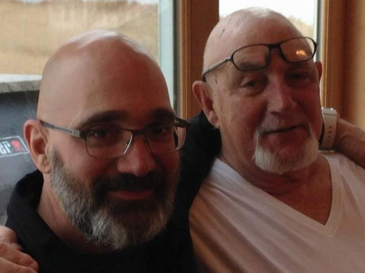 My father, David A. Sloane, and me celebrating his 77th birthday, in March 2015. He passed away three months later.