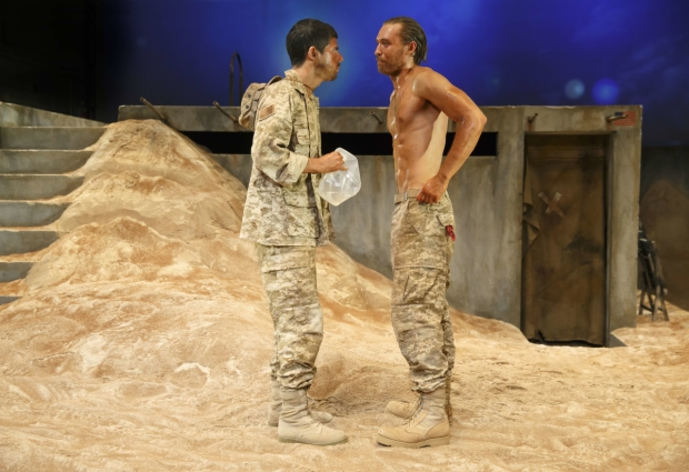 Brian Miskell and Seth Numrich star in Daniel Talbott's  Afghanistan, Zimbabwe, America, Kuwait , directed by Talbott, at The Gym at Judson.