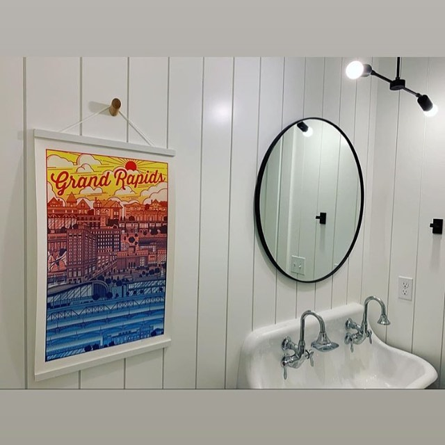 So in love with our customer, @the_argyle_house idea of @existdesign Grand Rapids print hanging in her bathroom.  These prints go quick so stop by the shop and grab yours 🦜 . . . #modrnGR #whatsUPTOWN #grandrapids #grmi #detroit #michigan #shopsmall #shoplocal #gifting #homeaccessories #modern #interiordesign