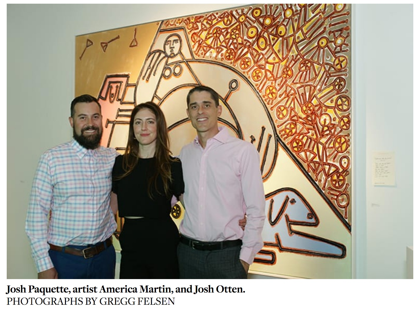 Artist America Martin with Josh Paquette and Josh Otten, owners of   J  .   Willott Gallery