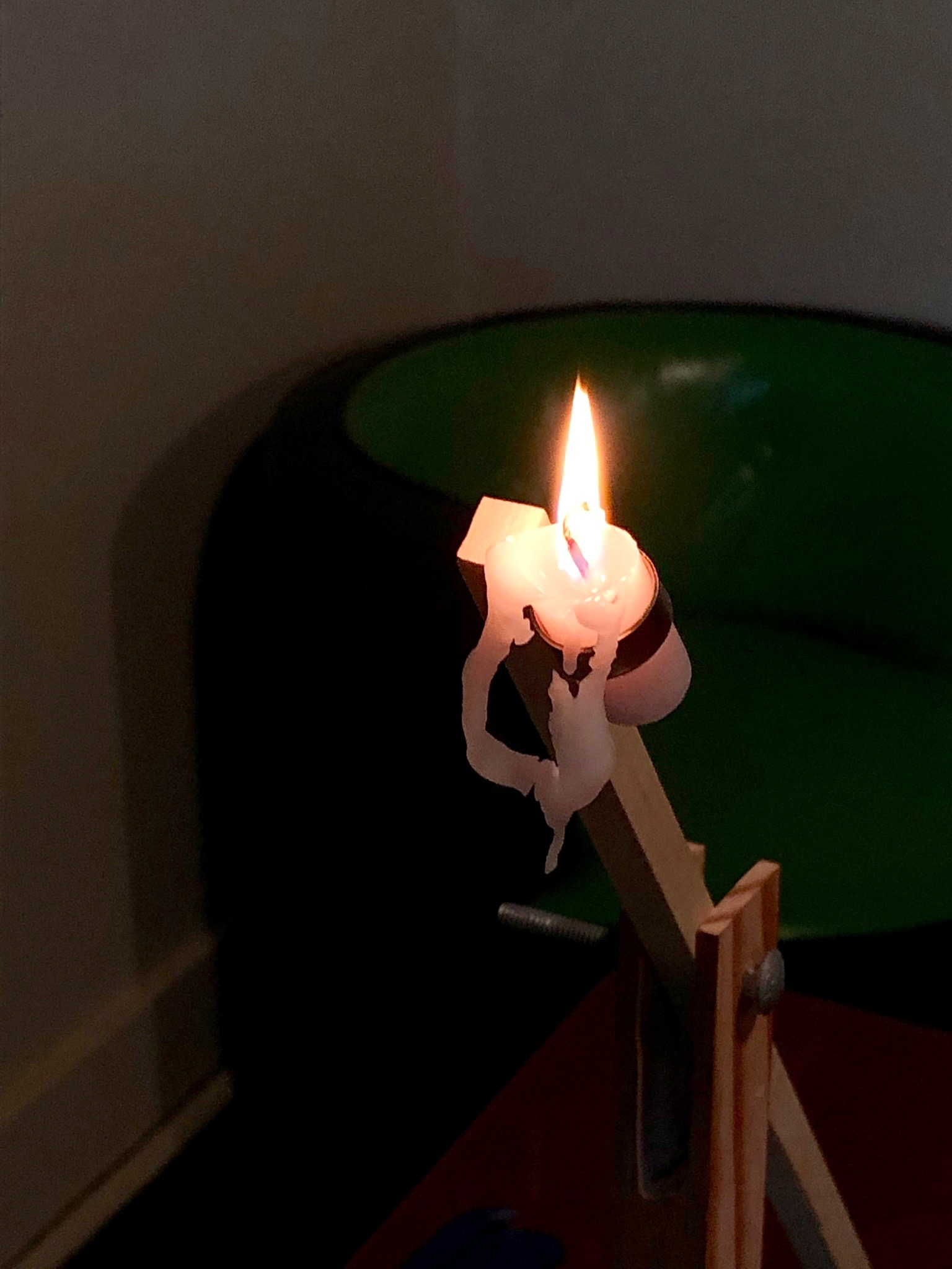 Close-up of the nearly vertical prototype candle