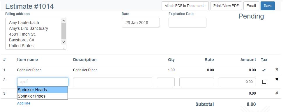 Create estimate/invoice