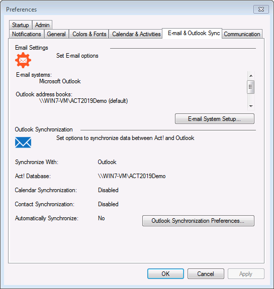 Select Email & Outlook Sync tab, open E-mail System Setup