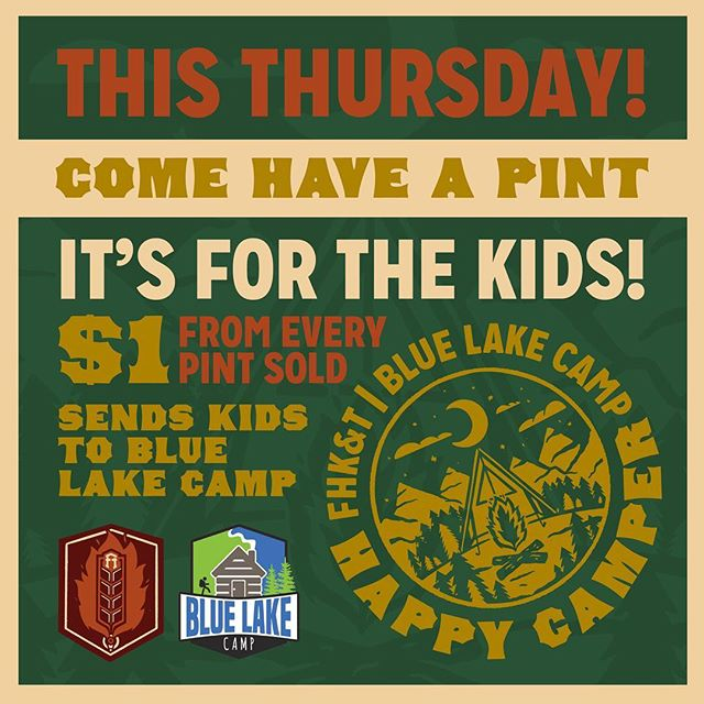 We're 2 days away folks! Happy Camper Day - by FHK&T + Blue Lake Camp is this Thursday!⠀ . Come on out for an evening of live music with Dawson Rutledge - Campfires on the patio & craft beer in support of kids getting to Blue Lake Camp this fall!⠀ .⠀ Tag all your friends you're bringing with you, let's bring the community together and send some kids to camp!⠀ . .⠀ .⠀ .⠀ .⠀ .⠀ .⠀ .⠀ .⠀ #fhkt2018 #heritage #restoration #gastropub #cranbrook #cranbrookbc #downtowncranbrook #explorecranbrook #kootenays #kootenaylife #britishcolumbia #tapintothekootenays #eatlocal #history #microbrew #taphouse #bar #craftbeer #brick #firehall #patio #patioseason #livemusic #charity #fundraiser #camping #camplife ⠀ ⠀
