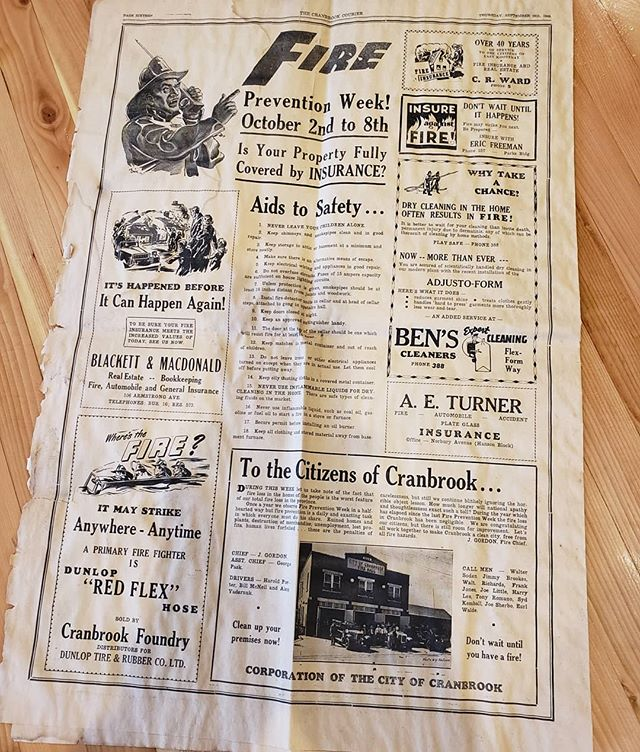 "69 years ago today this ranked page 16 in The Cranbrook Courier. Did you notice the little cameo by Cranbrook's Fire Hall No. 1?  Because this is always a good idea, ""Let's all work together to make Cranbrook a clean city, free from all fire hazards."" - former Fire Chief, Jimmy Gordon September 29, 1949.  Thank you to an anonymous guest for dropping this off. If these walls could talk…"