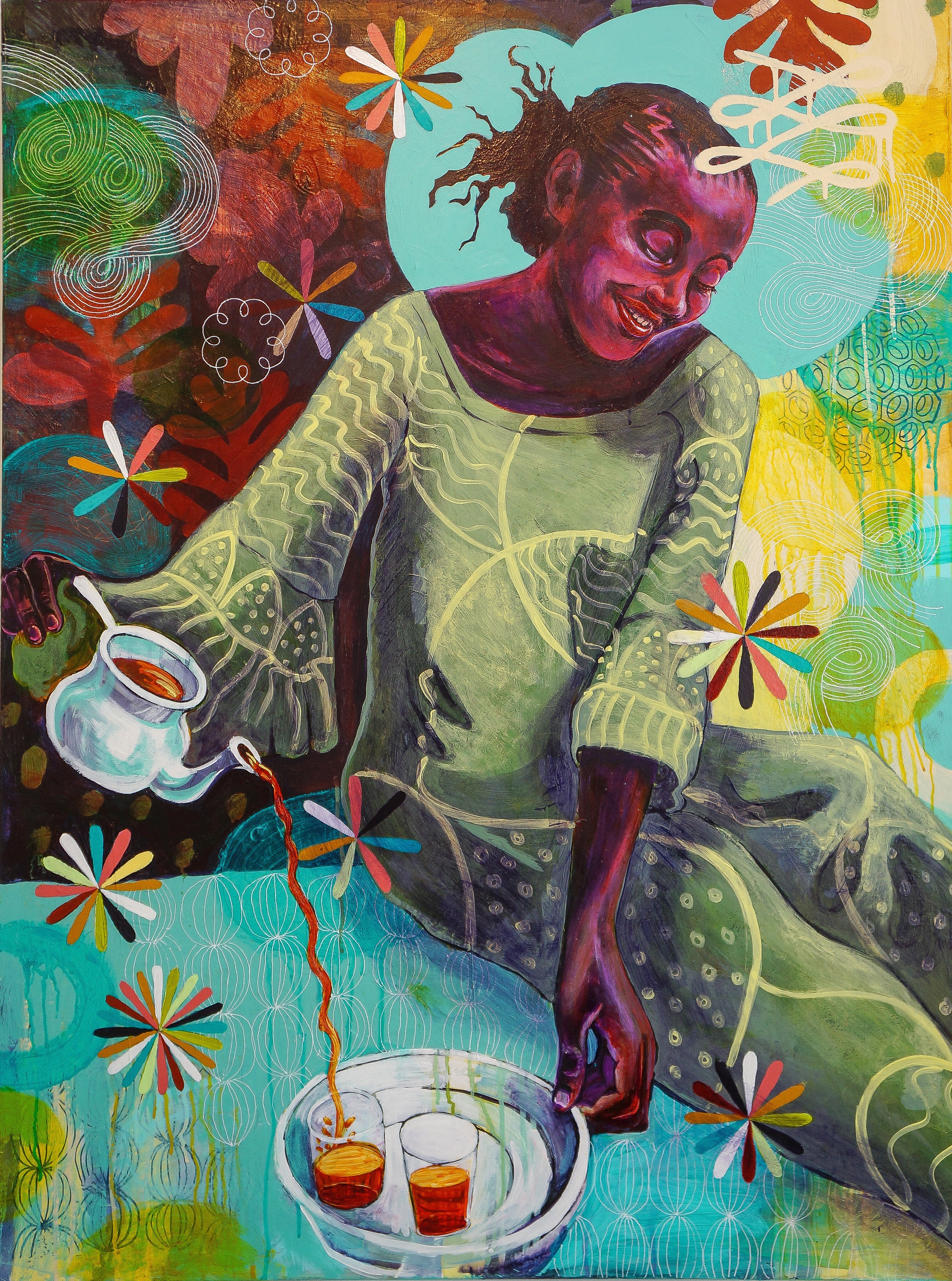 "Mint Tea - Acrylic on canvas, 36"" x 48"""