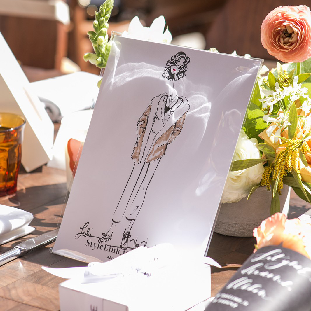 "Planoly - ""This event wouldn't have been the same without the fabulous illustrator, Vogue Vignette. In between courses and bottomless mimosas being poured, she effortlessly sketched our guests and brought them to life on paper."""