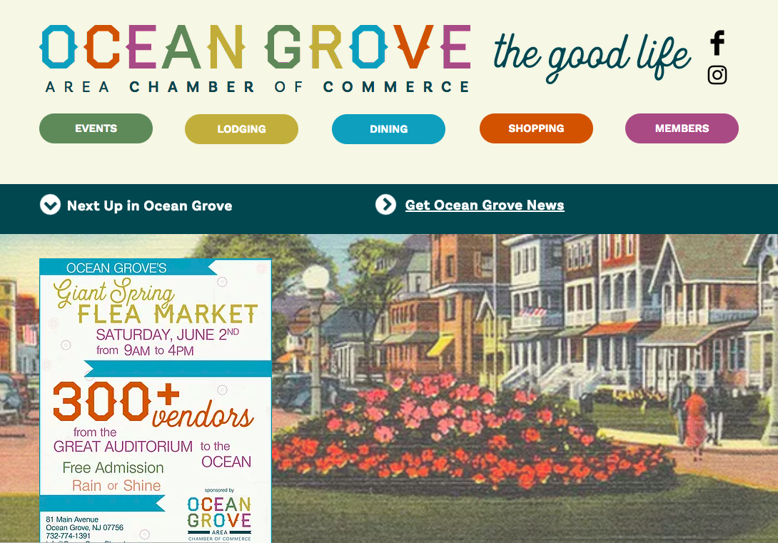 Ocean Grove Chamber of Commerce redesign
