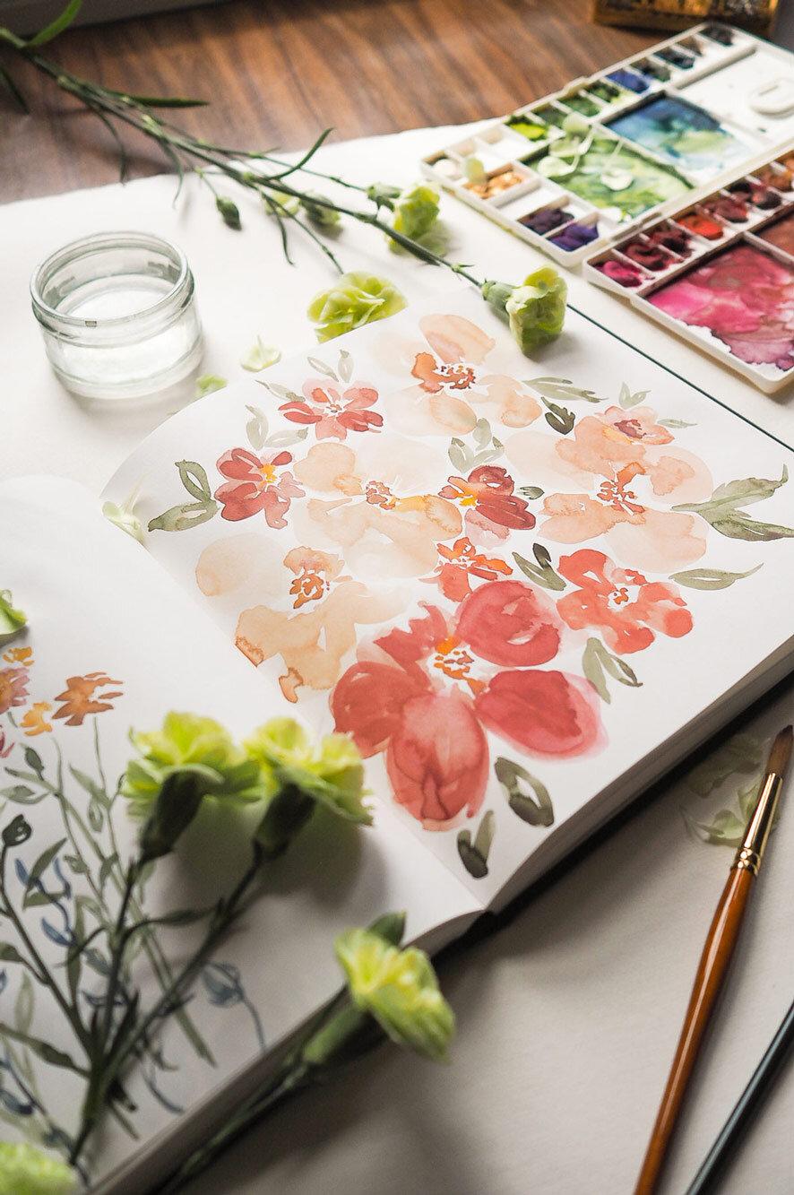 Floral studies for a bespoke wedding design.