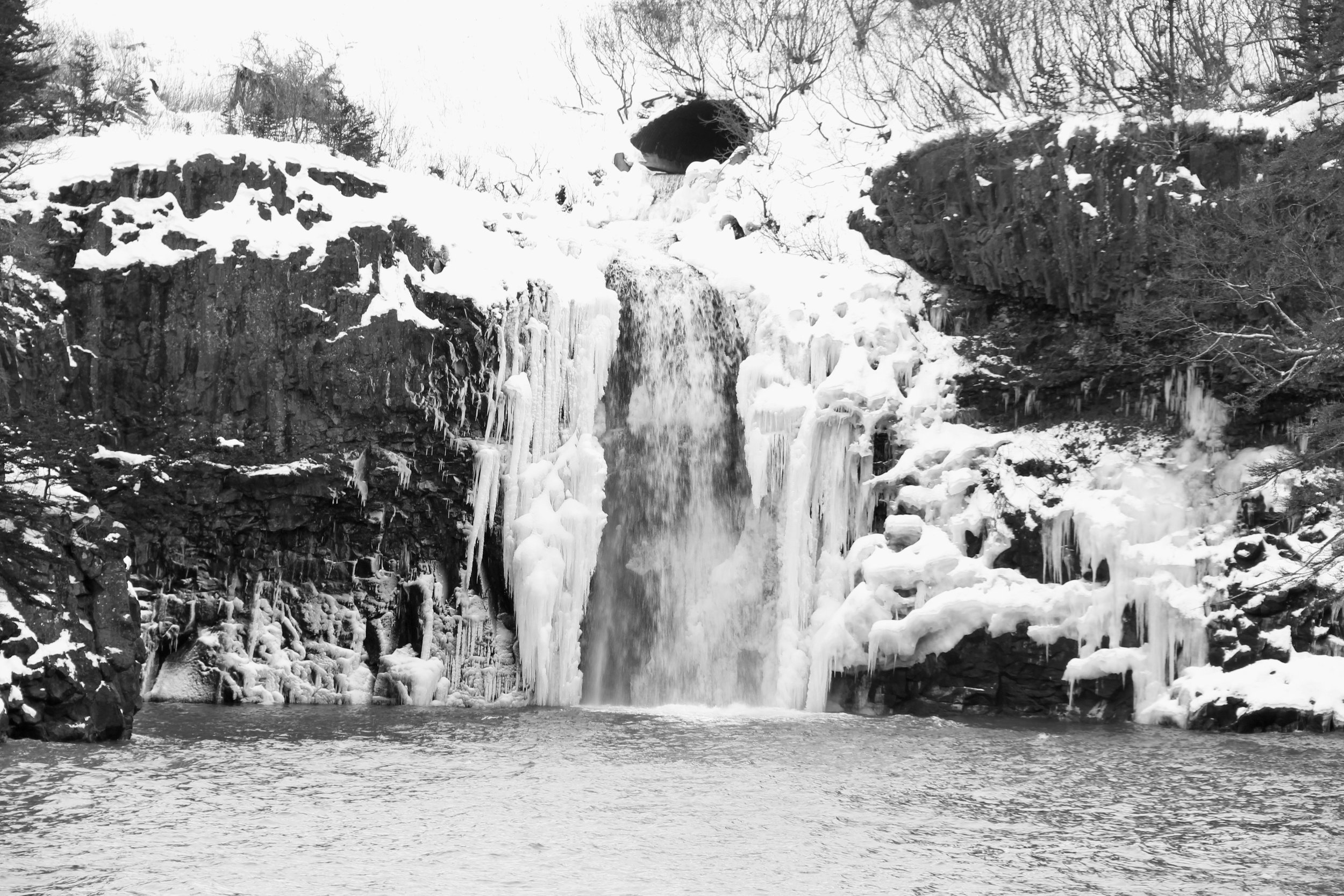 Baxter Harbour waterfall.  At low tide, you can walk on the sea floor to the base of the falls.