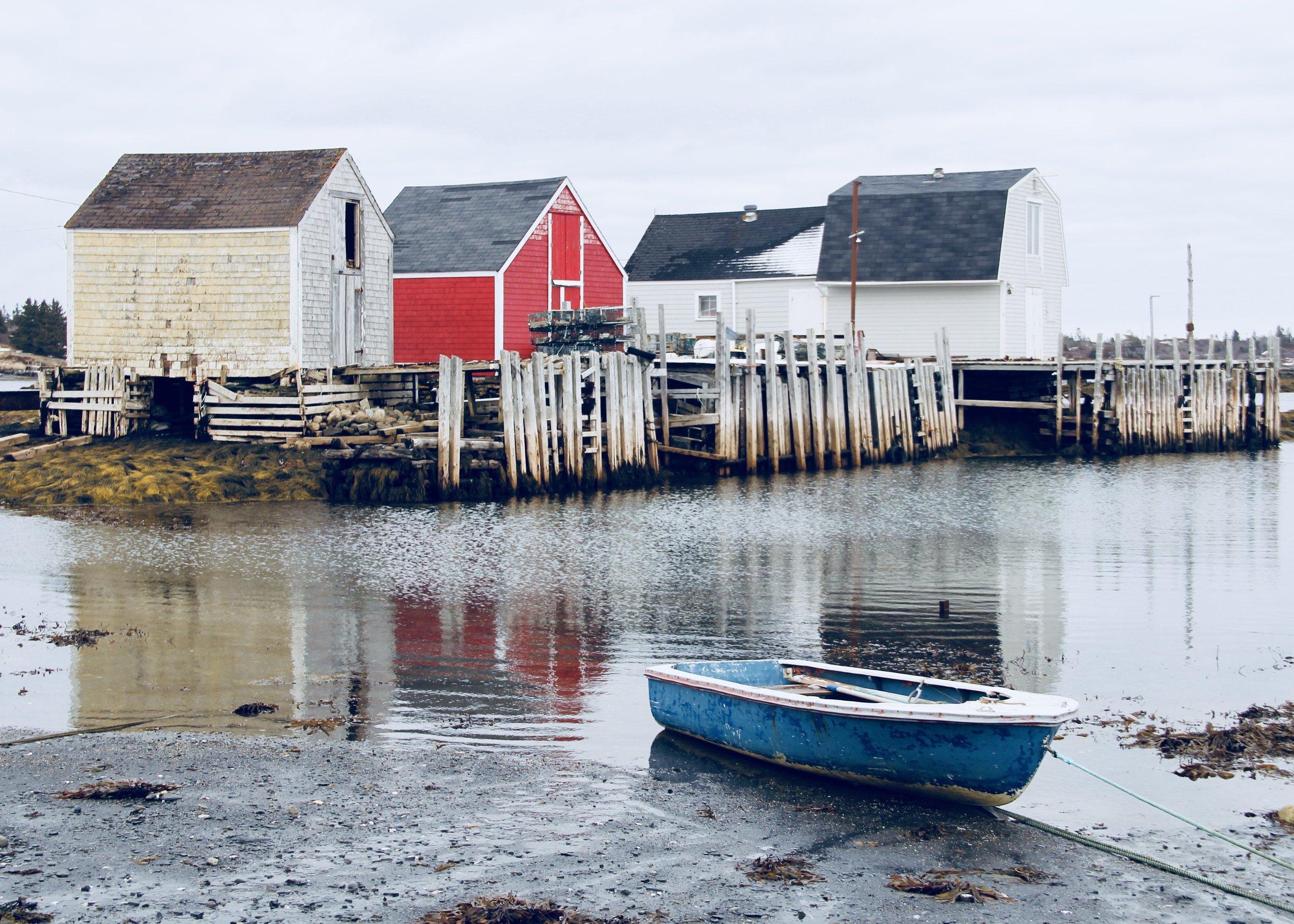 Old fishing shacks at the Point, Blue Rocks, Nova Scotia - Still a working fishing village.