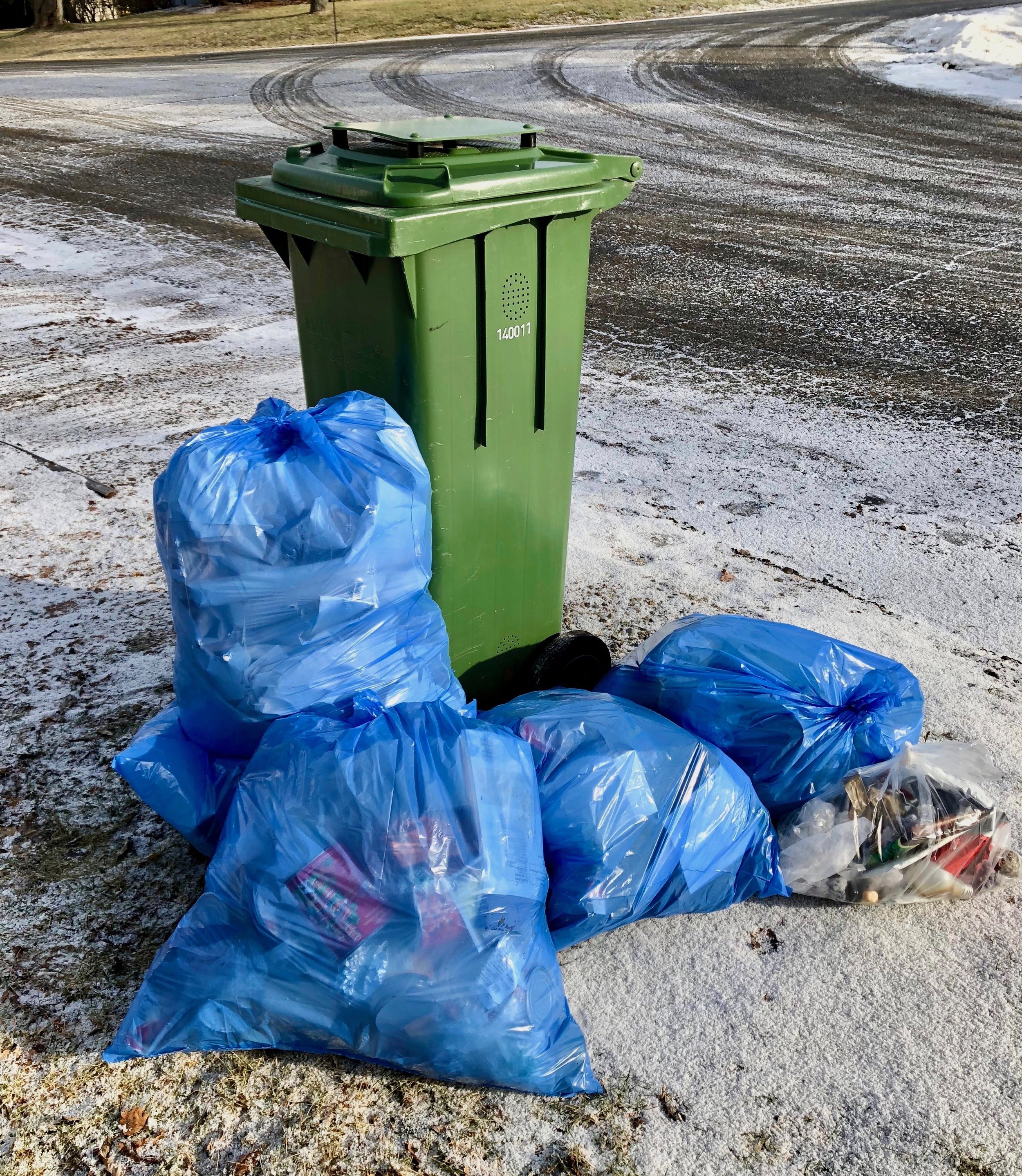 The tall green bin is for food waste to be composted - not for garbage. The blue bags hold recycling.Only the small clear plastic bag contains actual garbage.