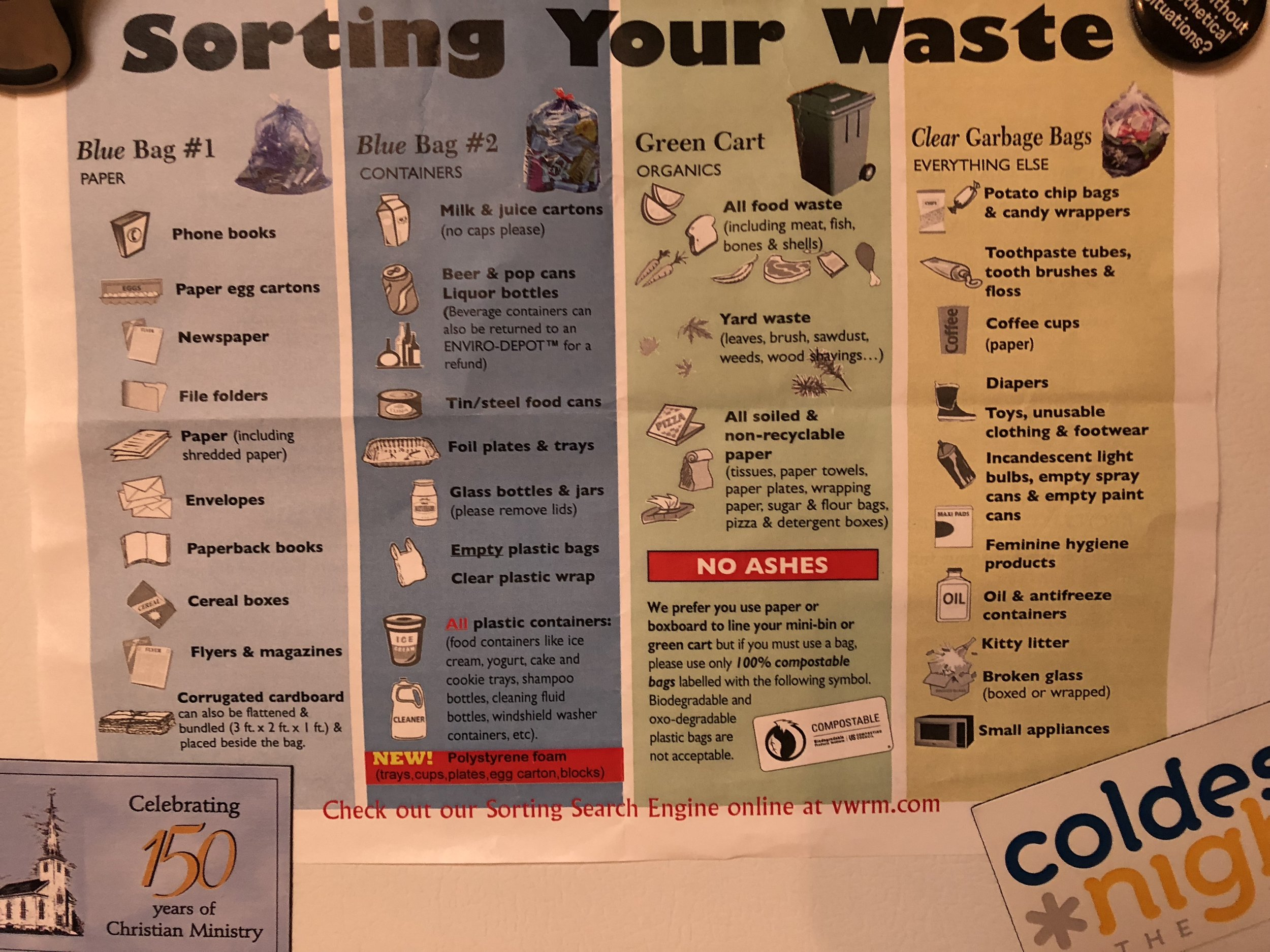 Front and center on the fridge - recycling instructions