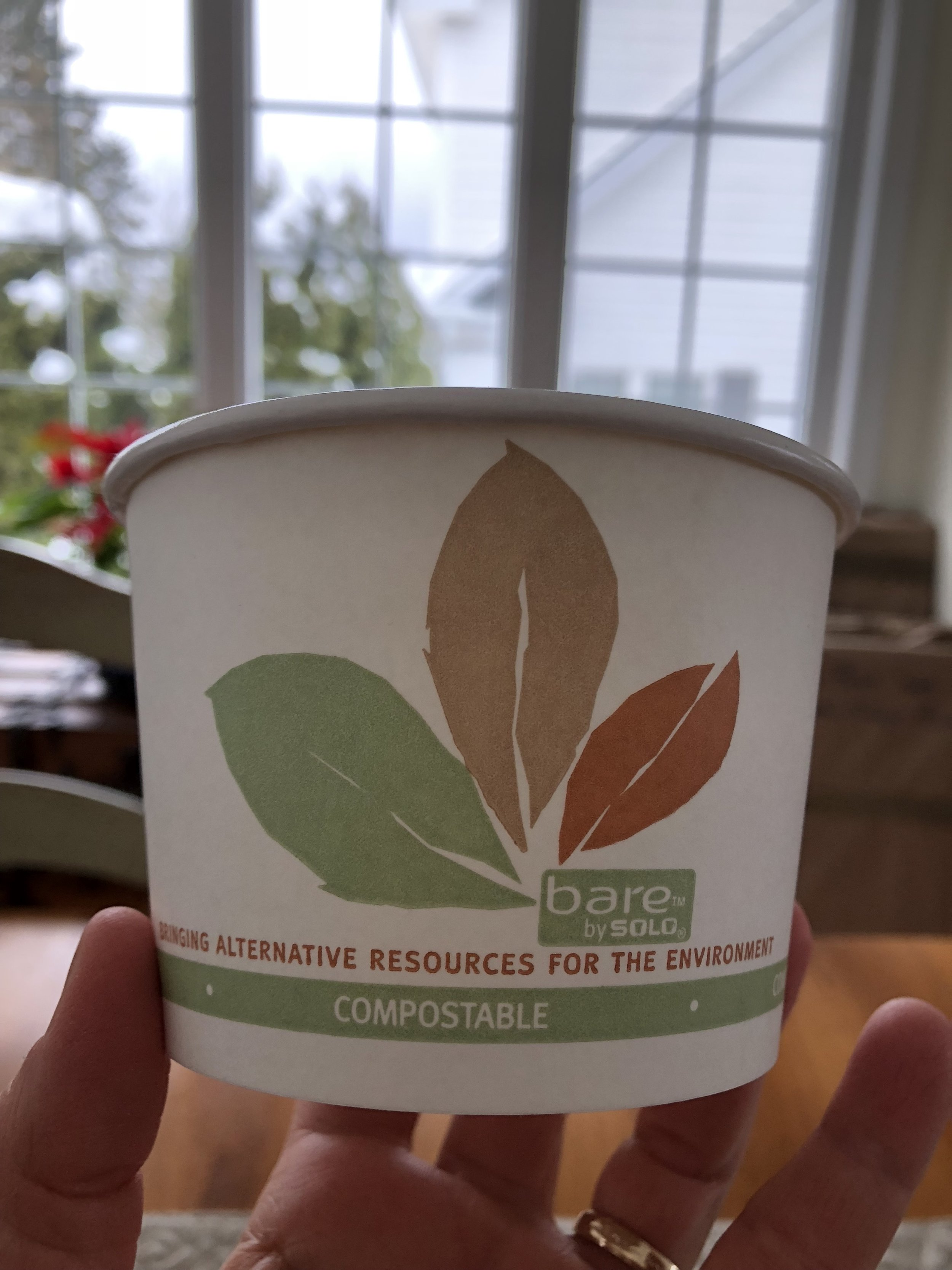 Compostable cup of soup from the Farmer's Market.