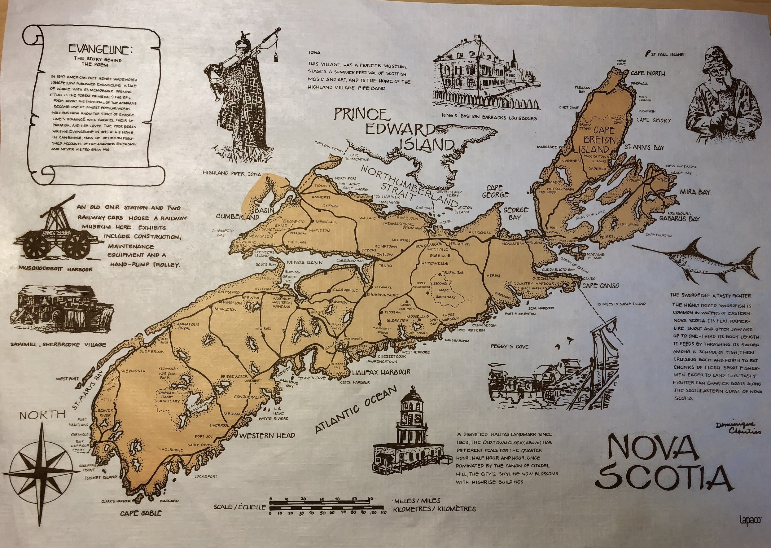 A fun little map of Nova Scotia.It's actually a placemat from The South Shore Fish Shack.... say that fast 3 times. The Fish Shack is a great seafood restaurant in Lunenburg.