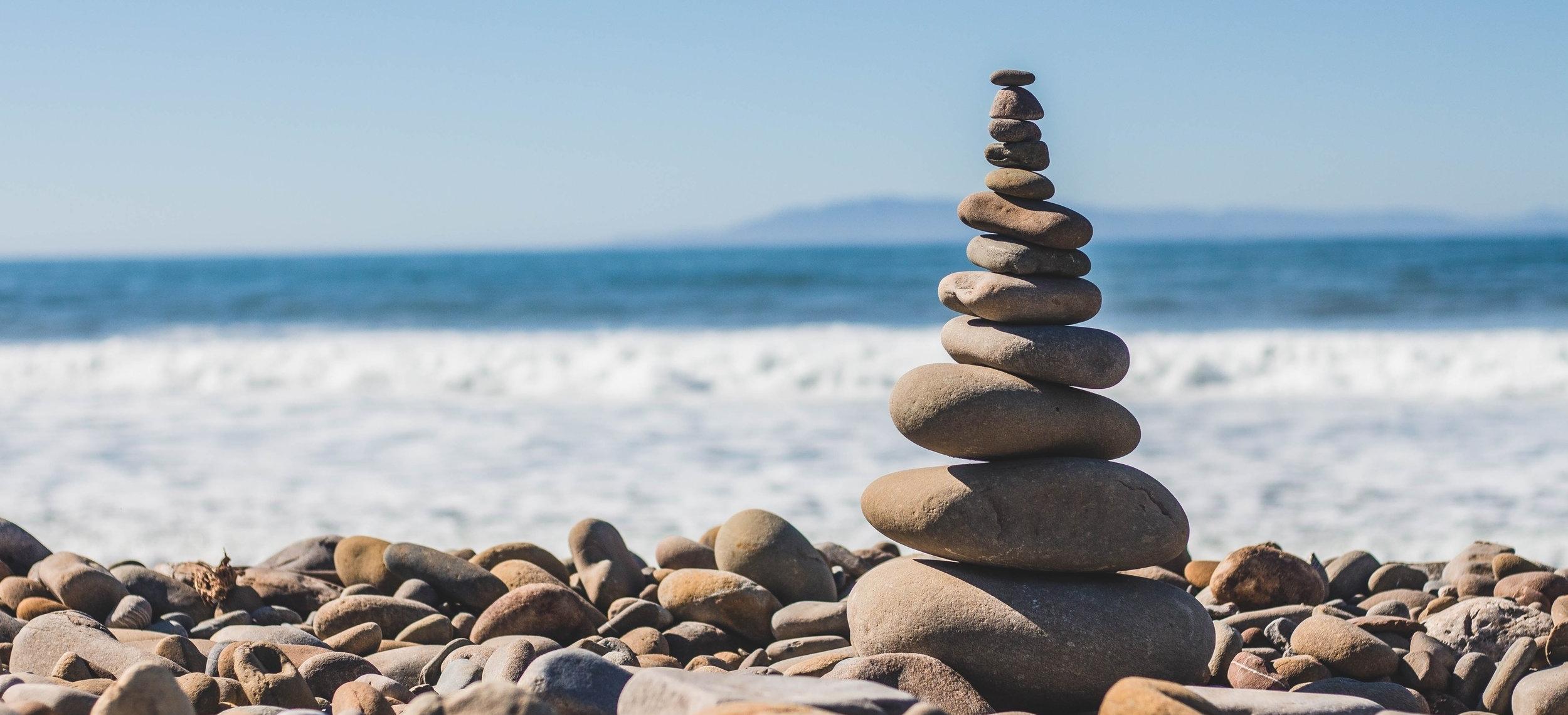 CRM stones on the beach