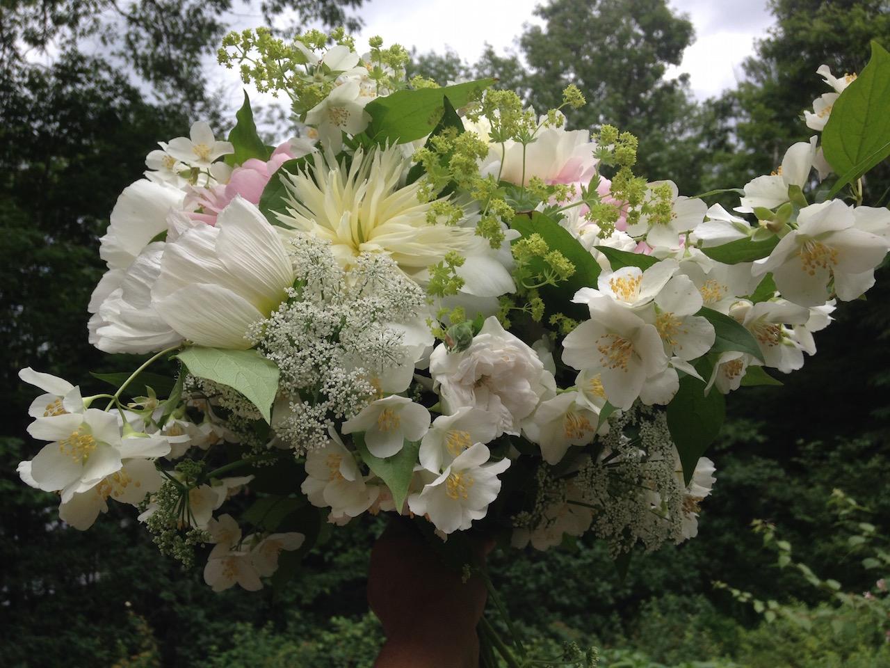 Peony, anemone, mockorange,and poppy wedding bouquet in Huntington, Vermont
