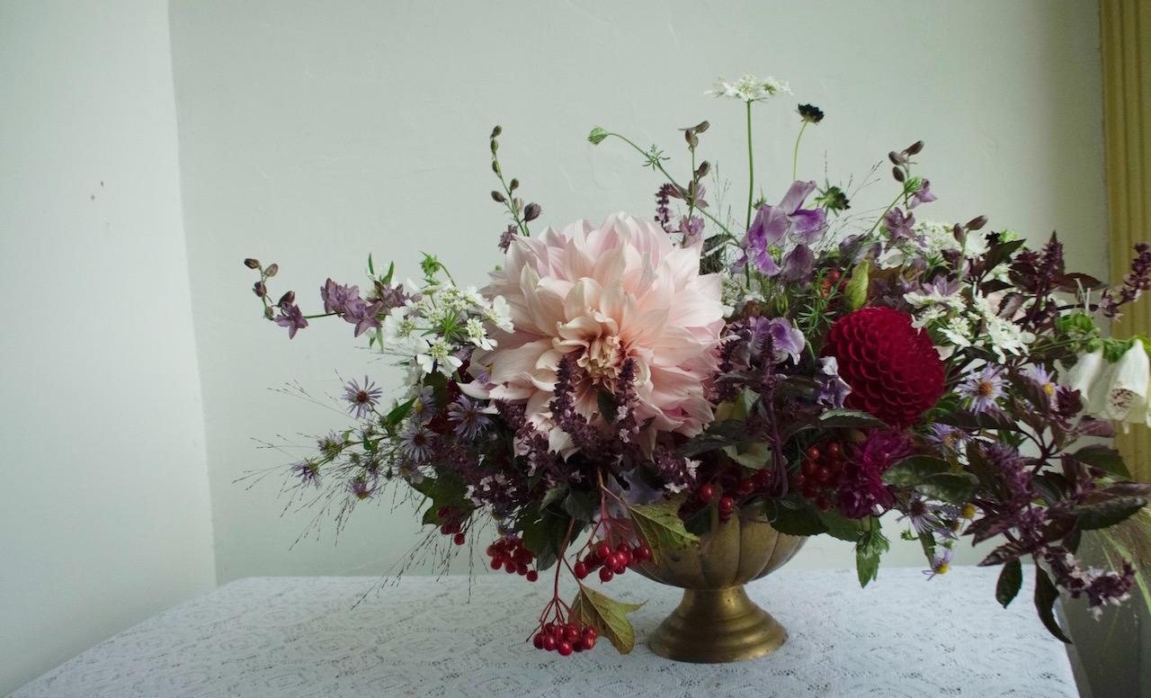 Large, lush autumn table centerpiece, Brownington, Vermont