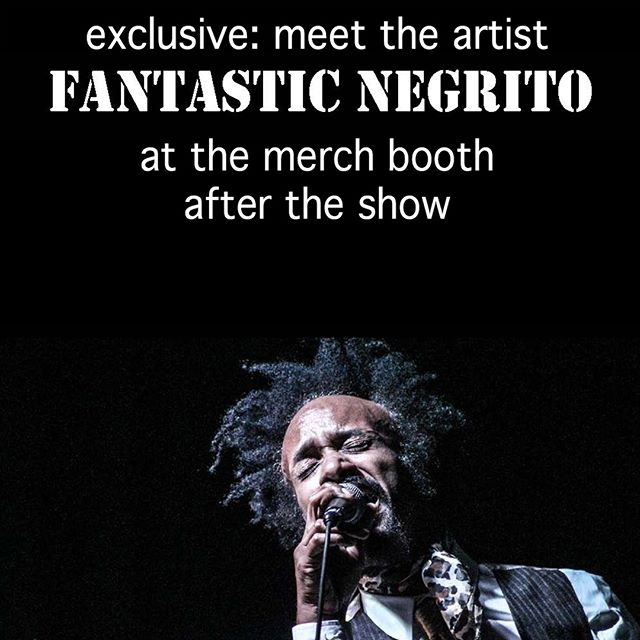 Less than one hour left until @fantasticnegrito takes the main stage here in downtown #oakland . Bonus: He will be signing merch and taking pictures at the merch booth after the show. Don't miss out!