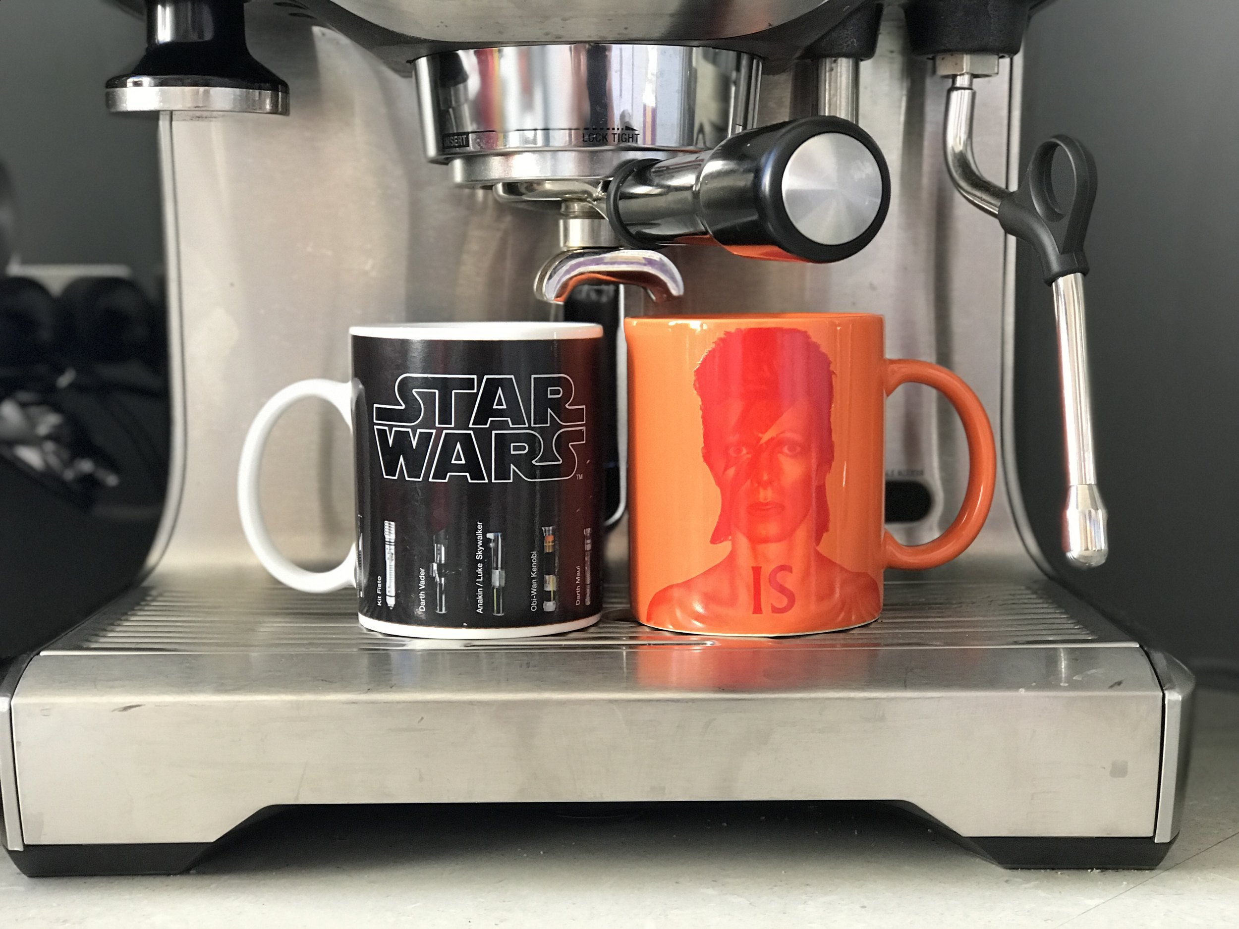 As long as I have enough space to put my coffee machine.... - Father and son mugs.