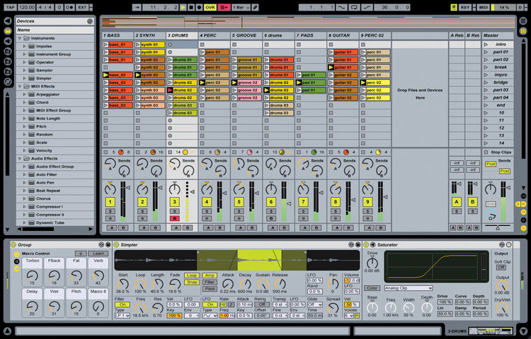 Creating a song in Ableton Live, a digital audio workstation.