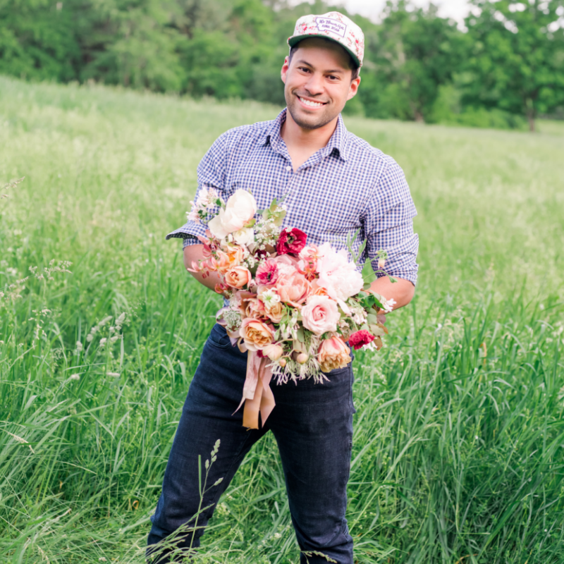 JULIO FREITAS - The Flower HatJulio is the owner of The Flower Hat, a Floral Design Studio located in Bozeman, MT. Julio believes in sustainability in the flower industry. Because of that, he grows most of the flowers he uses in floral designs during the short yet busy wedding season. His business also sells the oh-so-coveted Dahlia Tubers in the Winter and he teaches On-Farm Design and Farming Workshops in the Summer.