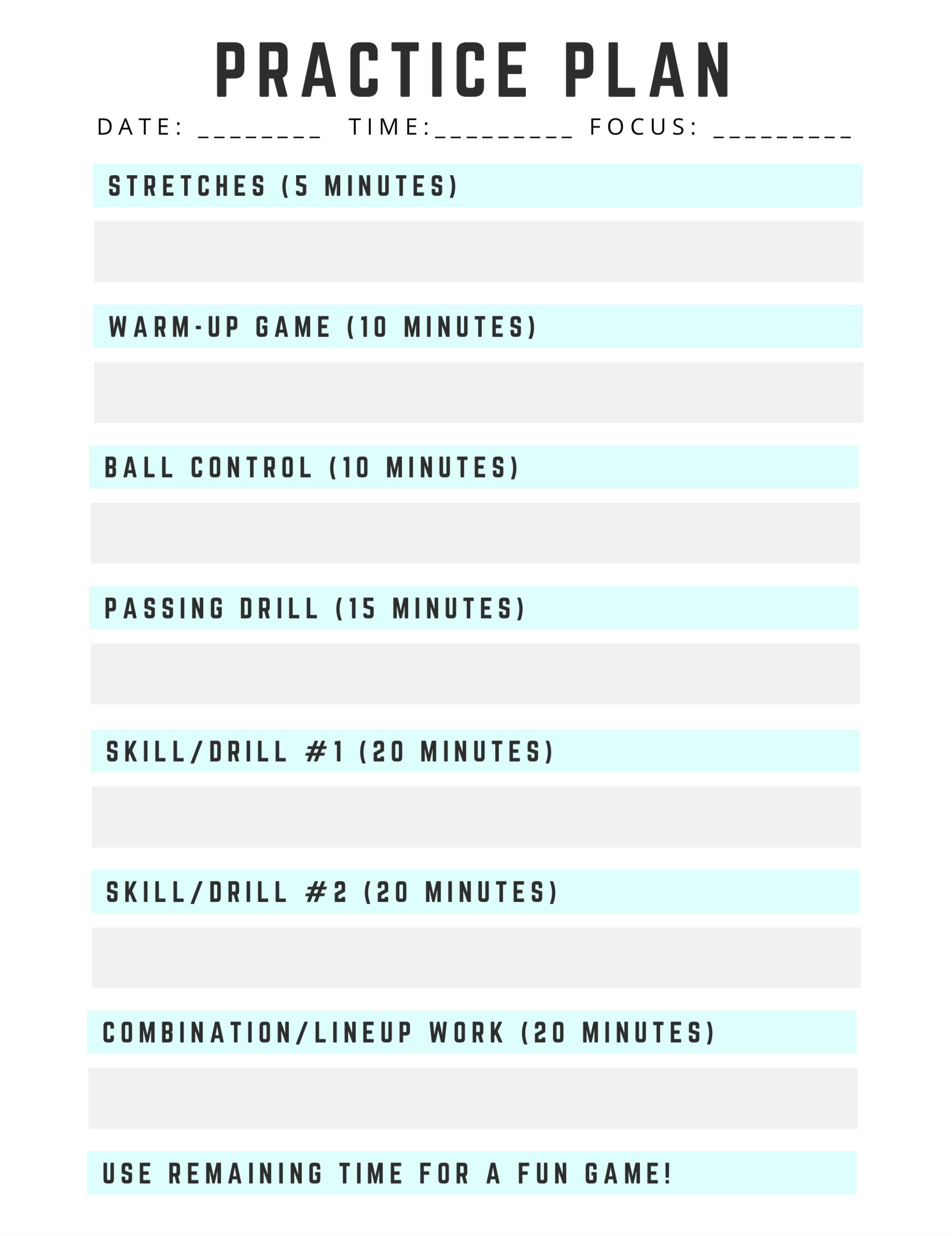 2 Hour Volleyball Practice Plan Template - Download and print this blank practice plan template to use with your volleyball team!
