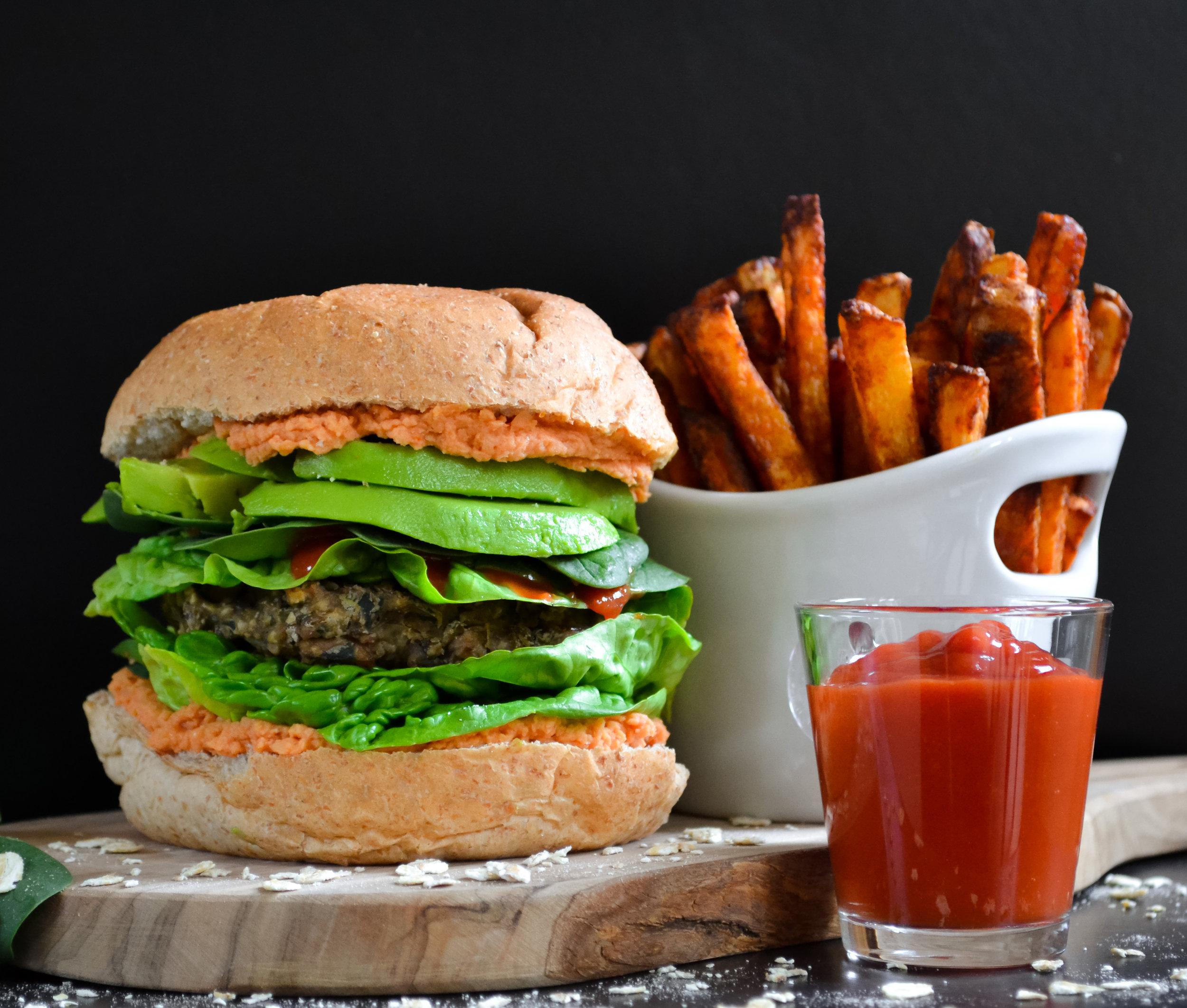 Mushroom, Lentil and Spinach Vegan Burger with Paprika Fries