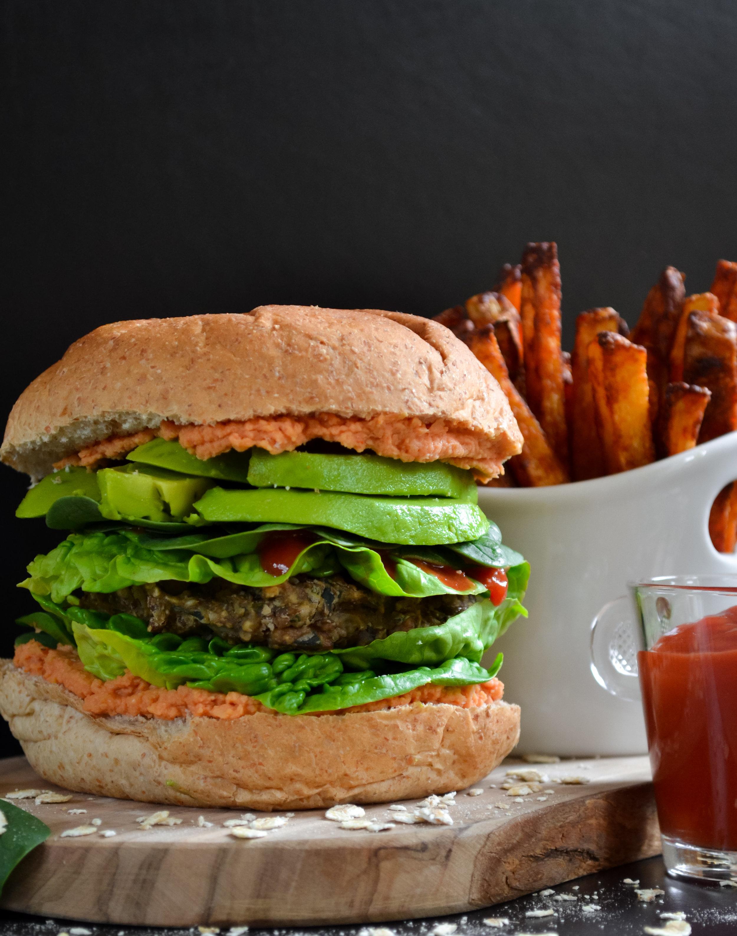 Mushroom, Lentil and Spinach Vegan Burger