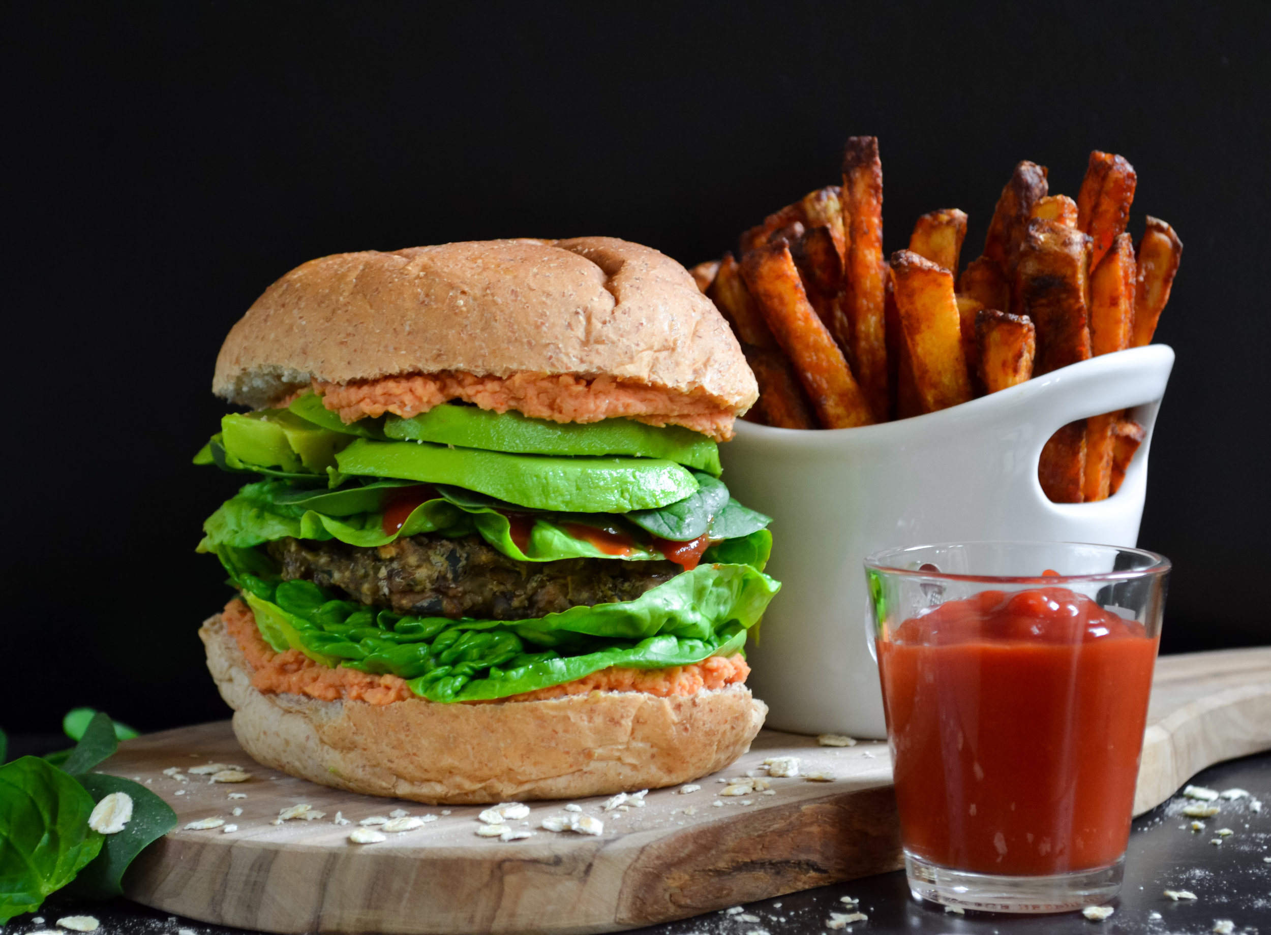 Mushroom, Lentil and Spinach Vegan Burger with Paprika Fries and Ketchup