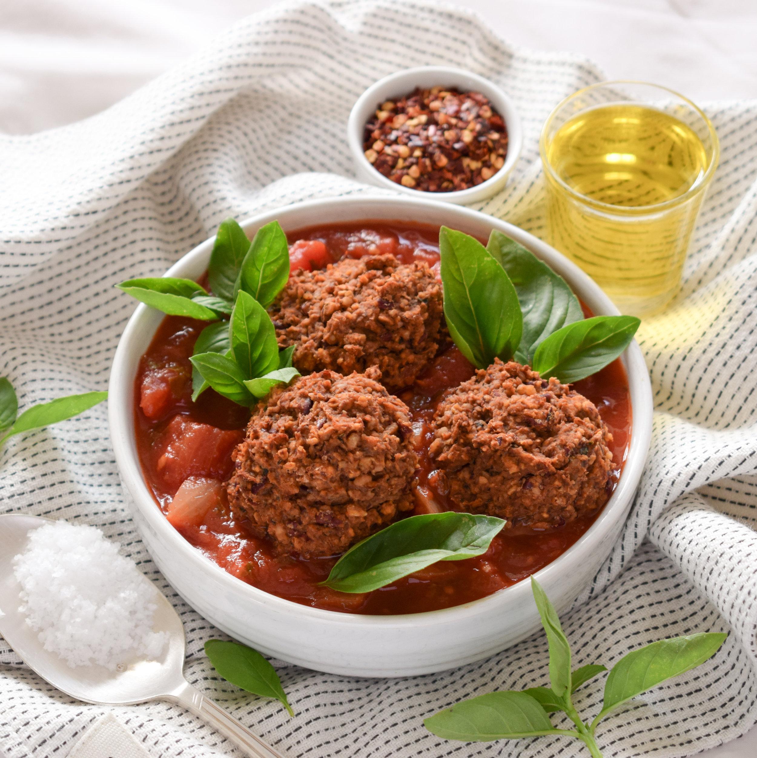 Vegan Bean Balls in Tomato Sauce