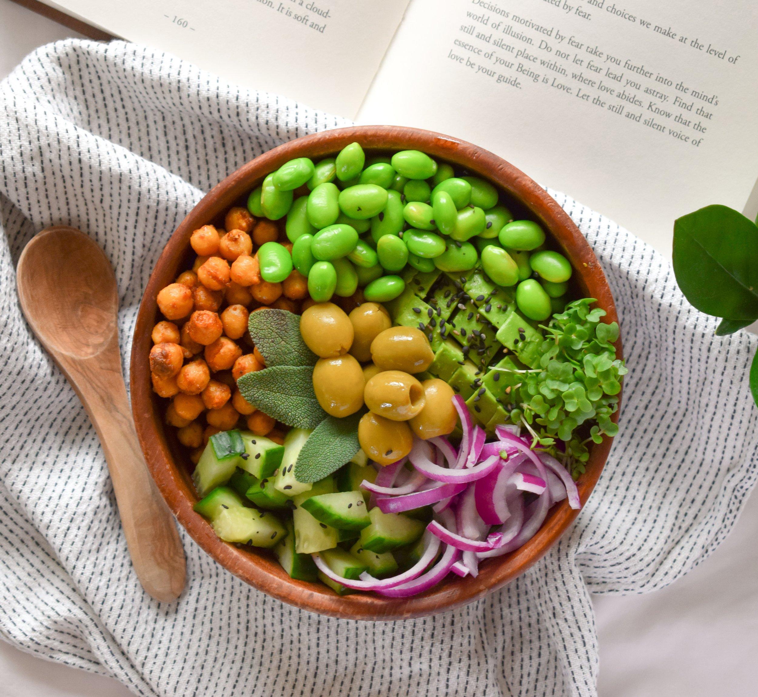 Vegan Roasted Chickpeas Buddha Bowl - Ally The Earthling