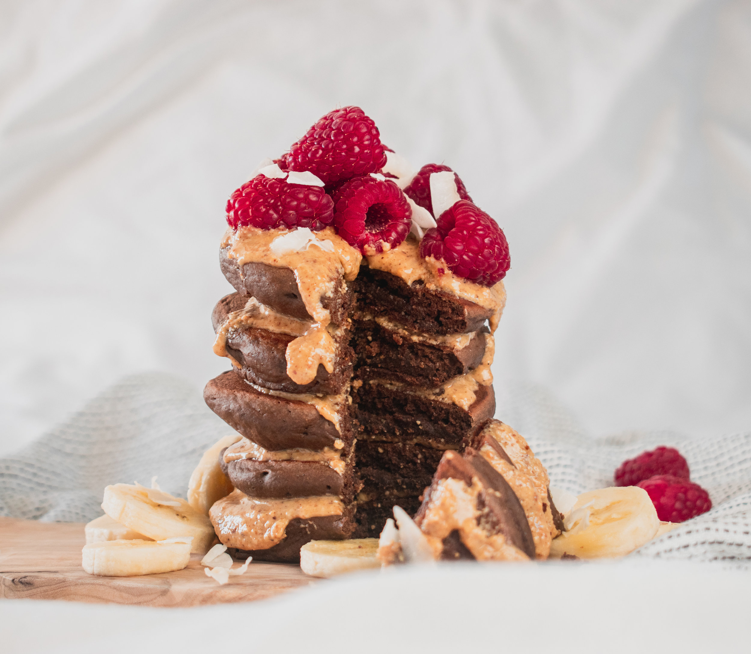 Fluffy Vegan Chocolate and Raspberry Pancake Stack - Ally The Earthling