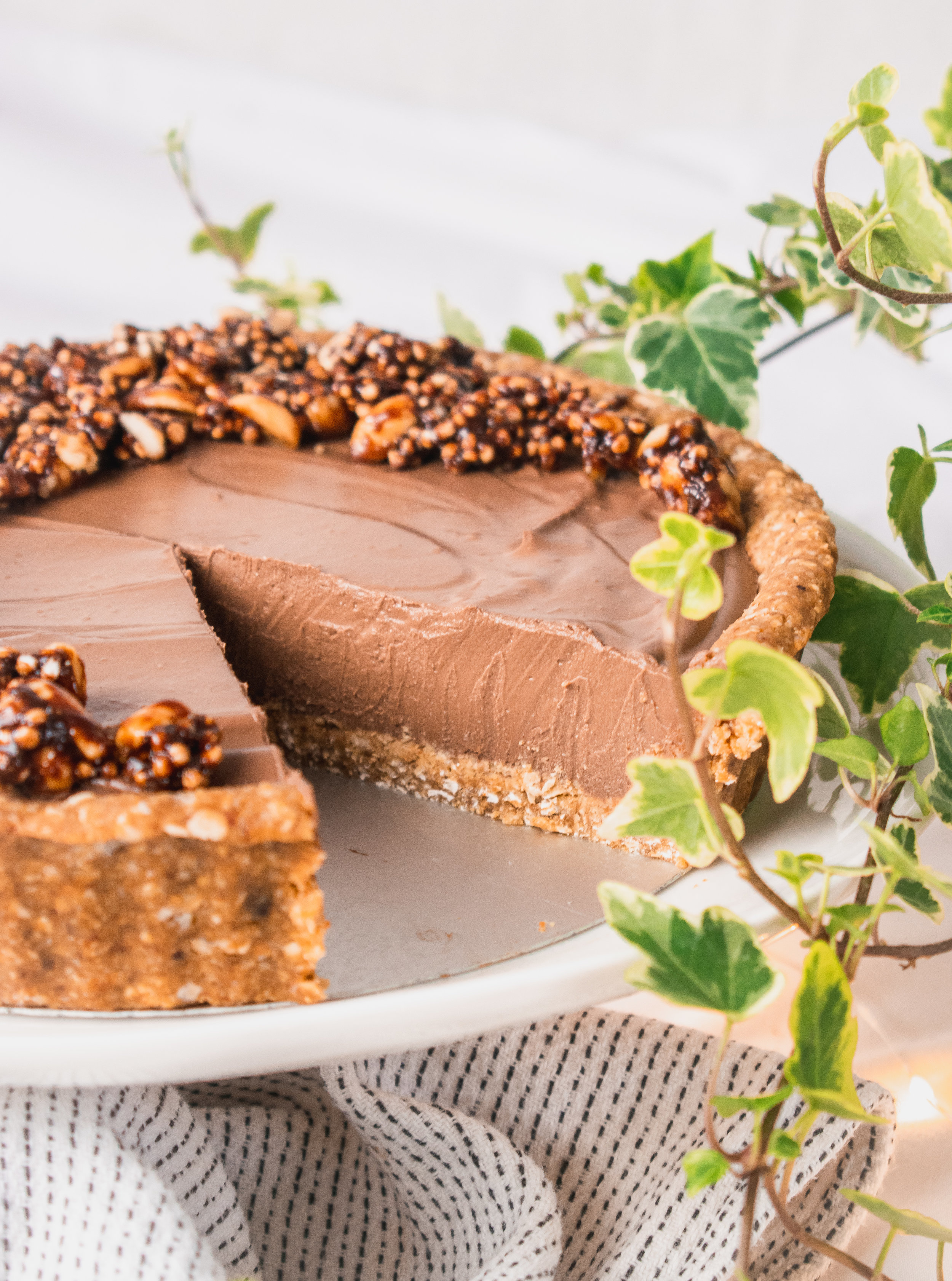 Cacao and Caramel Crescent Tart with Perkier Crumble Topping